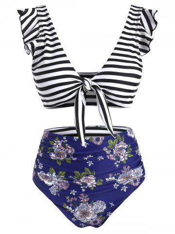 Striped Floral Ruffle Ruched Tie Front Bikini Swimsuit