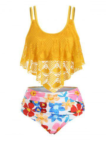 Floral Lace Overlay Flounces Plus Size Tankini Swimsuit - GOLDEN BROWN - 3X