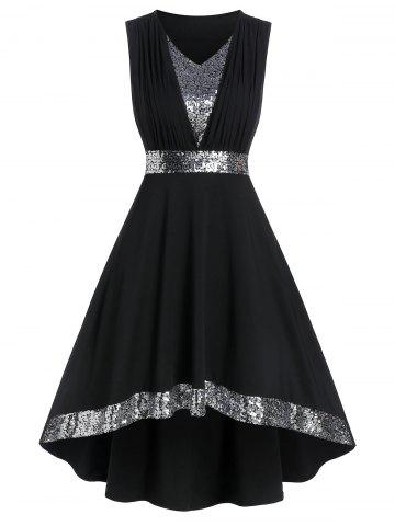 Sleeveless Sequin Panel High Low Prom Dress