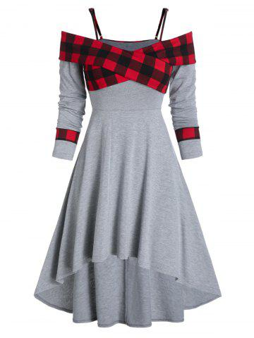 Plaid Print Crossover Open Shoulder High Low Dress