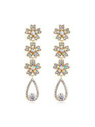 Rhinestone Flowers Water Drop Earrings -