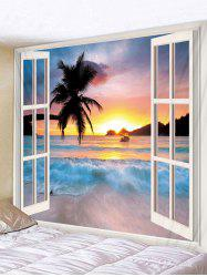 Window Sunset Beach Print Tapestry Wall Hanging Art Decoration -