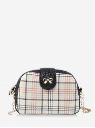 Plaid Pattern Bowknot Chain Crossbody Bag -