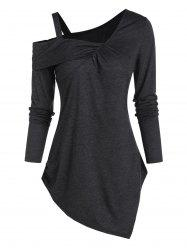 Cold Shoulder Asymmetrical Casual T Shirt -