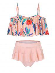 Tropical Flowers Print Flounce Bikini Swimsuit -