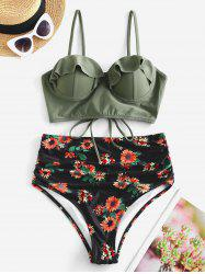 Floral Ruffles Push Up Lace-up Ruched Bikini Swimsuit -