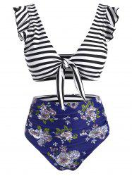 Striped Floral Ruffle Ruched Tie Front Bikini Swimsuit -