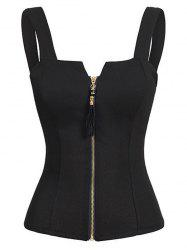 Zip Front Cut Out Tank Top -