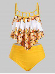 Overlay Flounces Ruched Cut Out Butterfly Plus Size Tankini Swimsuit -