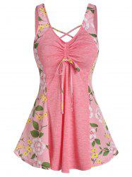 Floral Print Front Cinched Bowknot Tank Top -