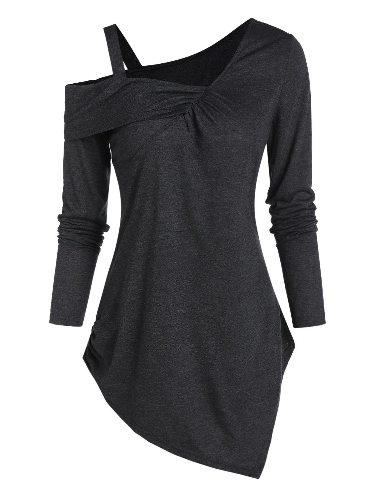 Latest Cold Shoulder Asymmetrical Casual T Shirt