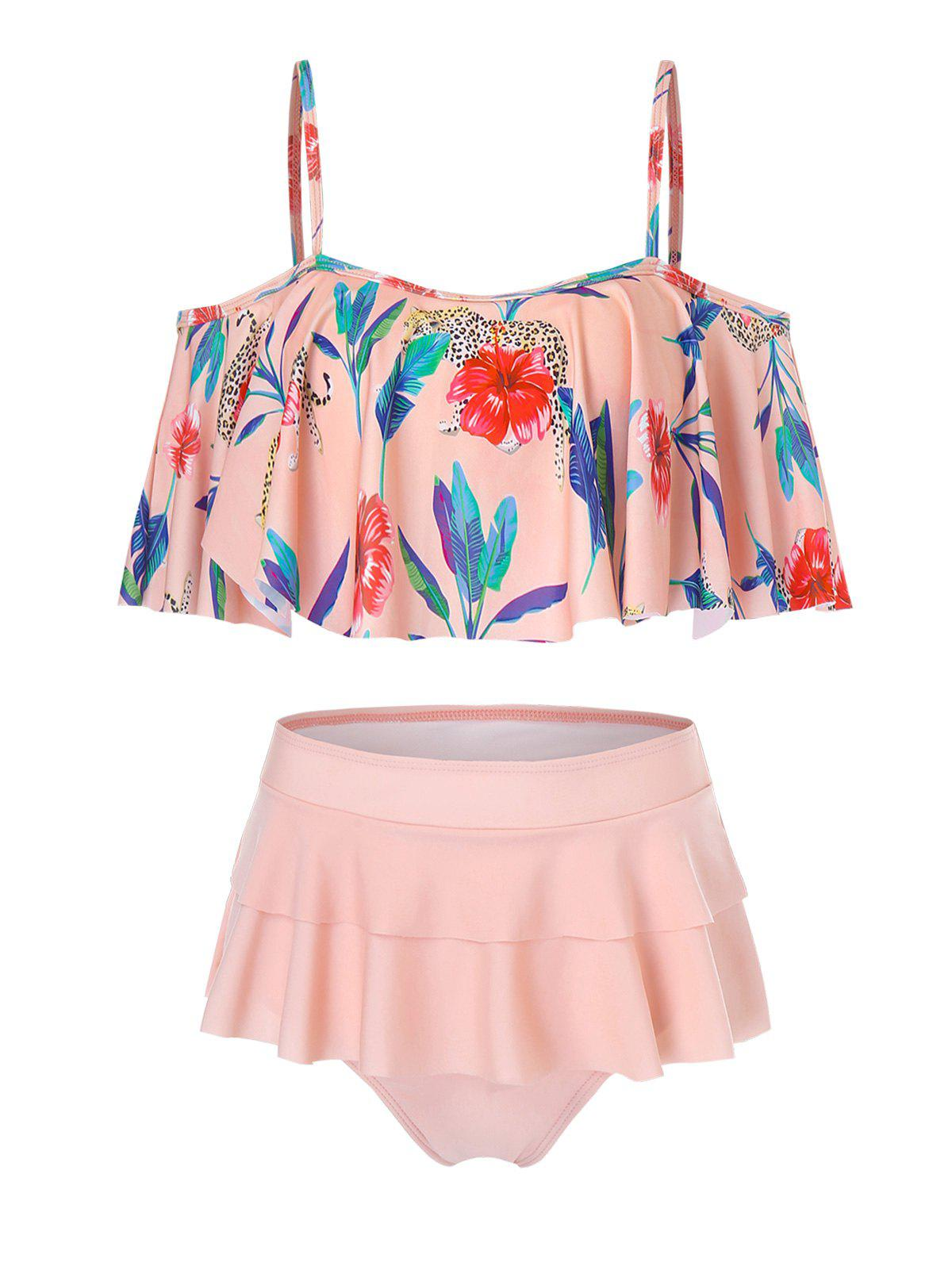 Discount Tropical Flowers Print Flounce Bikini Swimsuit