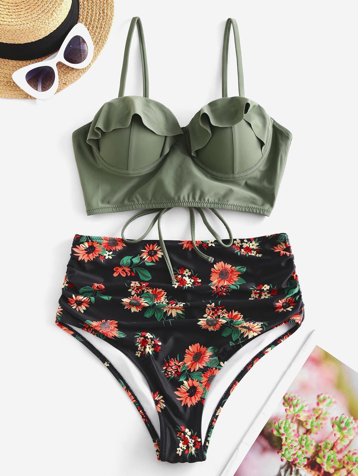 Affordable Floral Ruffles Push Up Lace-up Ruched Bikini Swimsuit