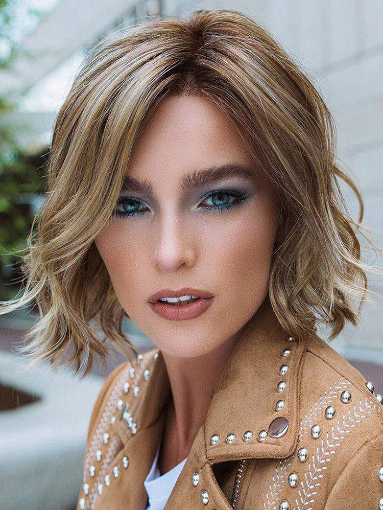 Online Inclined Bang Short Colormix Wavy Capless Synthetic Wig