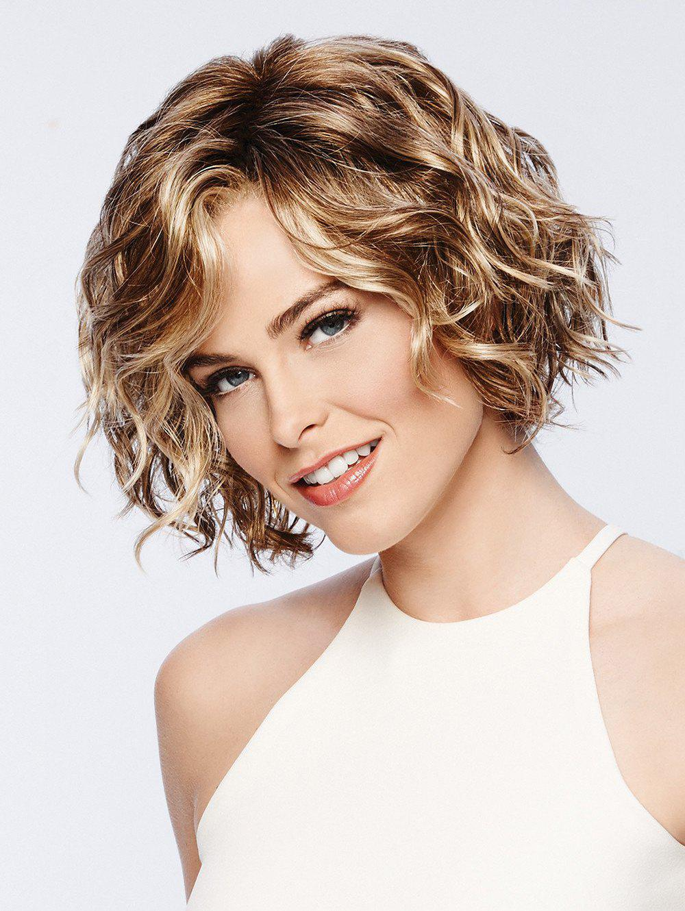 Buy Inclined Bang Short Wavy Capless Synthetic Wig