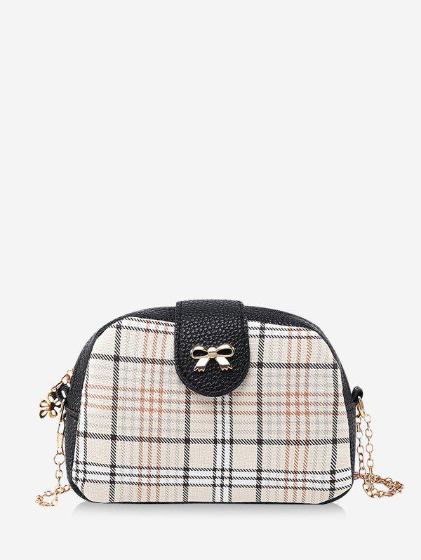 Discount Plaid Pattern Bowknot Chain Crossbody Bag