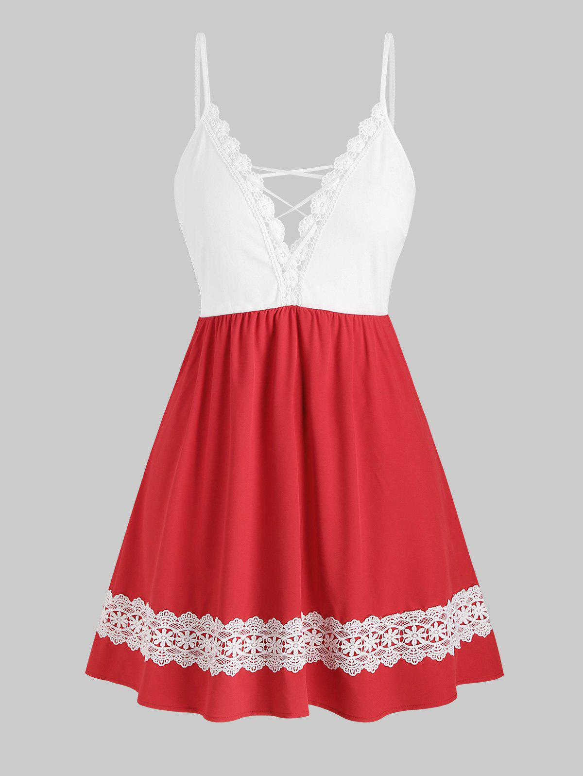 Outfits Two Tone Lace Trim Lattice Plus Size Cami Dress
