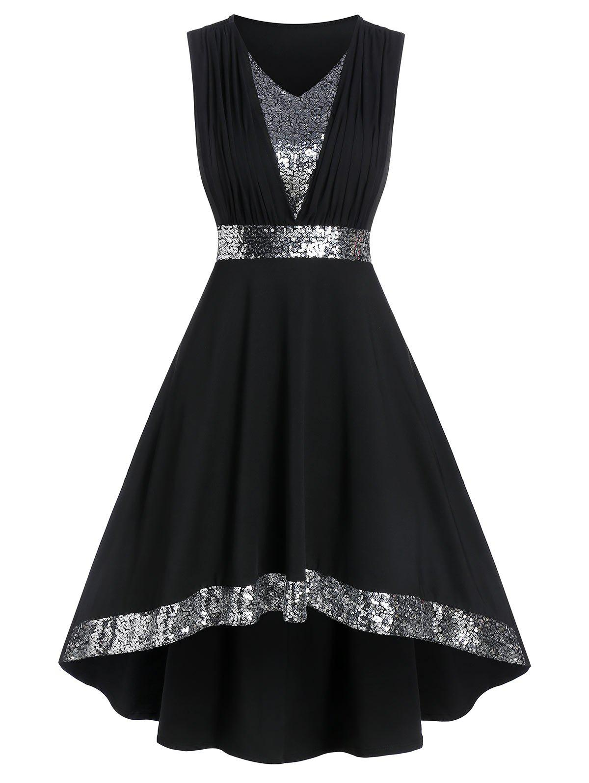 Shops Sleeveless Sequin Panel High Low Prom Dress
