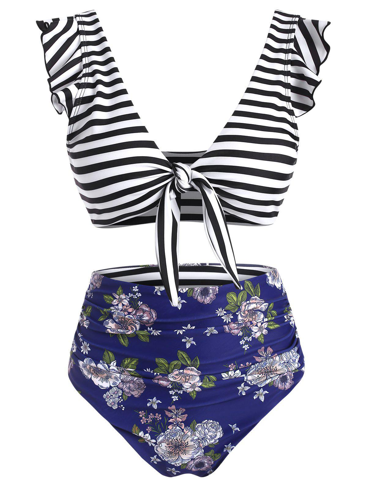 Affordable Striped Floral Ruffle Ruched Tie Front Bikini Swimsuit