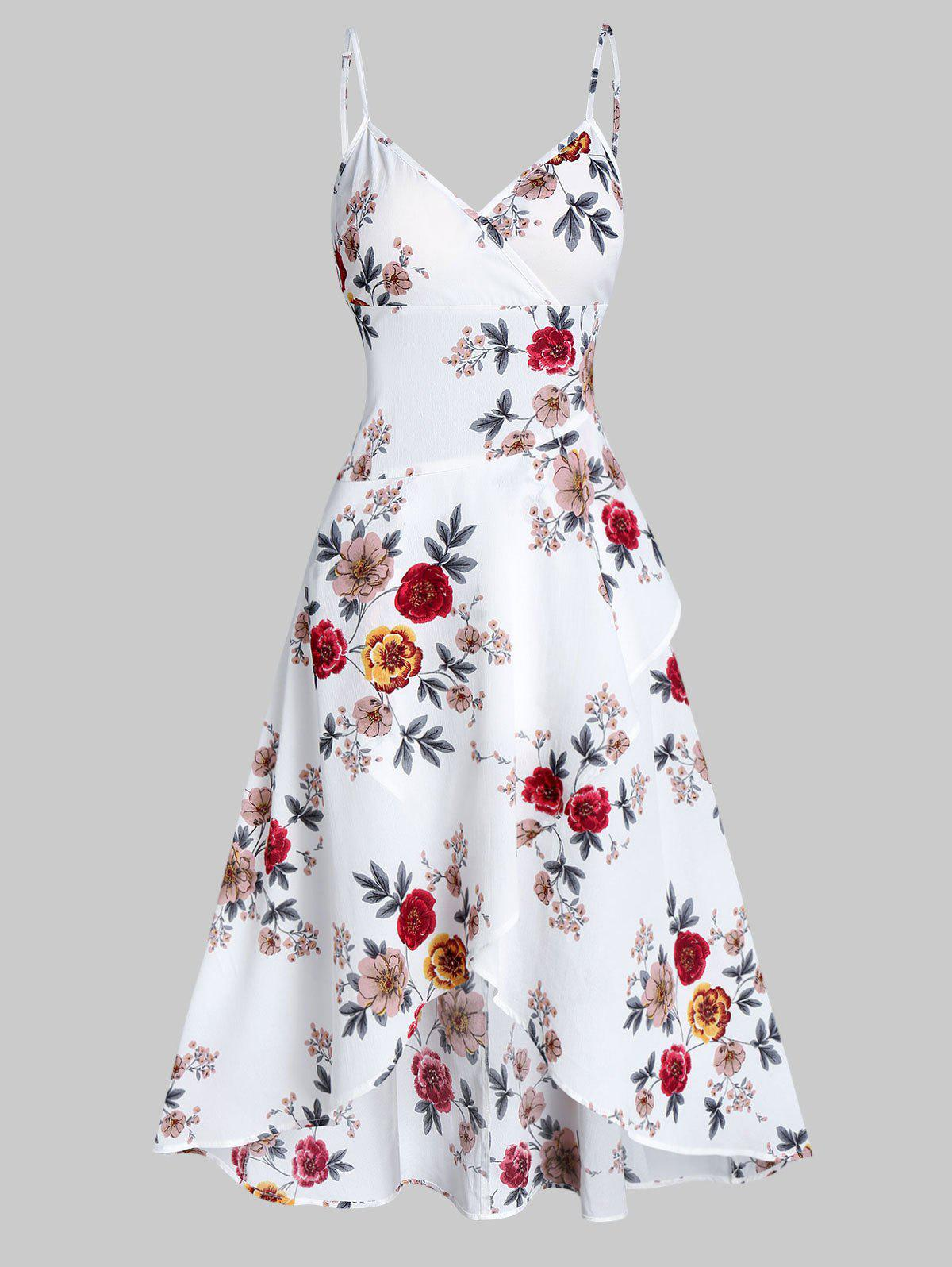 Latest Spaghetti Strap Floral Print High Low Surplice Dress