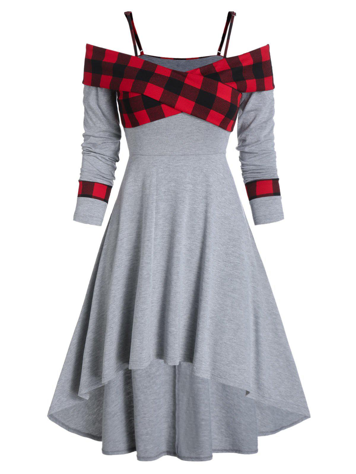 Buy Plaid Print Crossover Open Shoulder High Low Dress