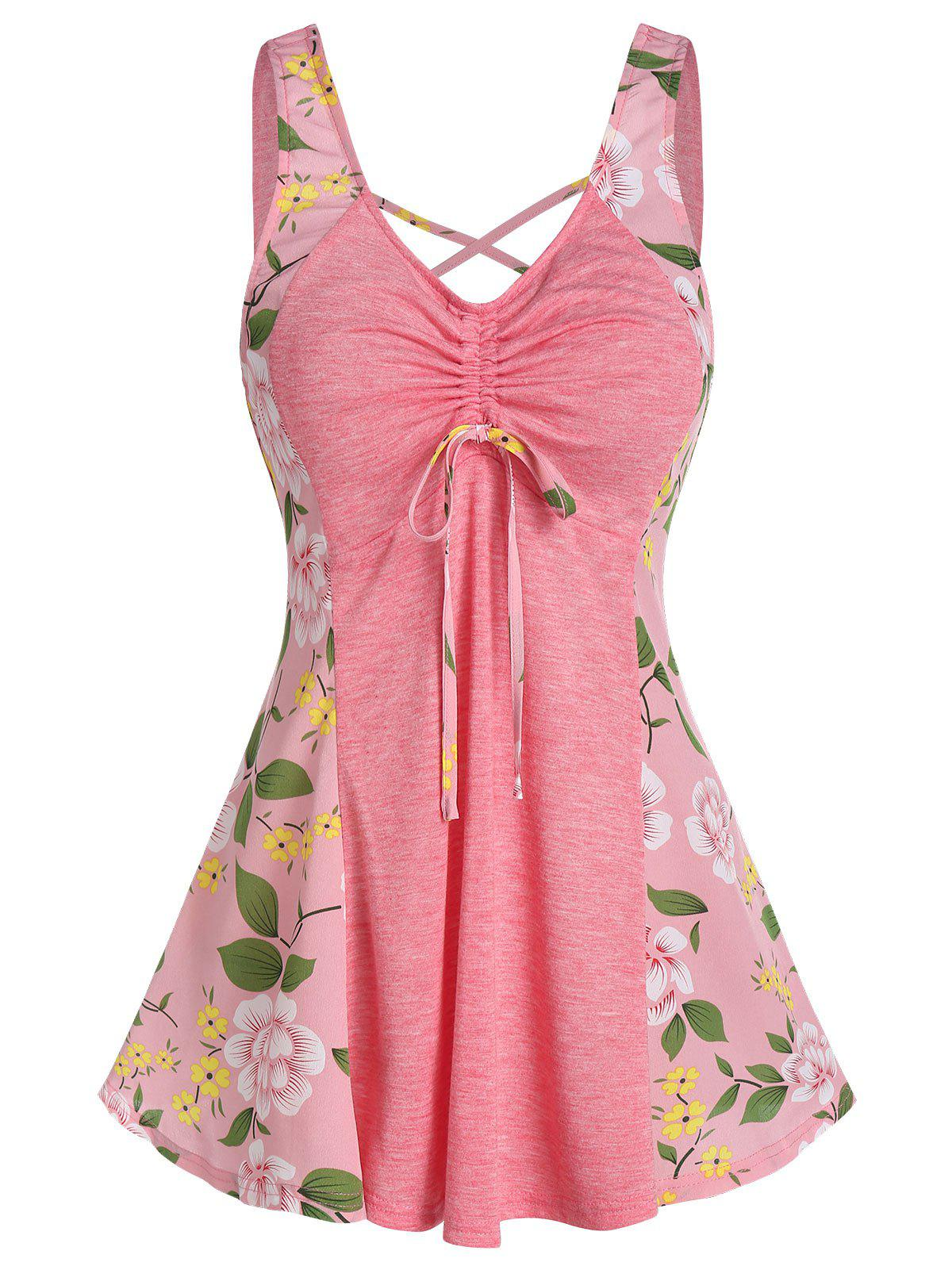 Outfits Floral Print Front Cinched Bowknot Tank Top