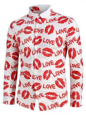 Letter Lip Pattern Long Sleeves Shirt - RED - M