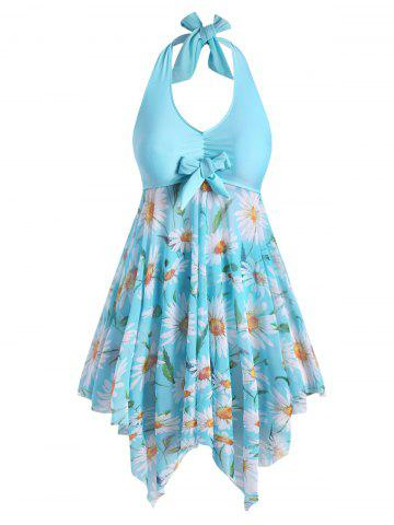Plus Size Sunflower Print Backless Handkerchief Tankini Swimsuit - DAY SKY BLUE - 1X