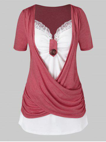 Plus Size Crossover Two Tone Knotted T Shirt - LIGHT CORAL - 2X