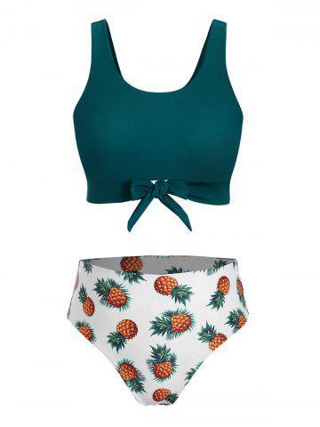 Plus Size Pineapple Print Front Tie Bikini Swimsuit