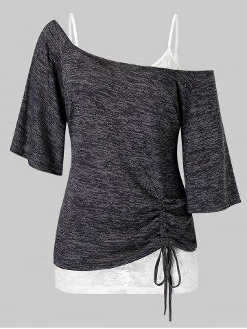 Plus Size Space Dye Cinched Tee and Cami Lace Top Set - DARK SLATE GREY - 2X