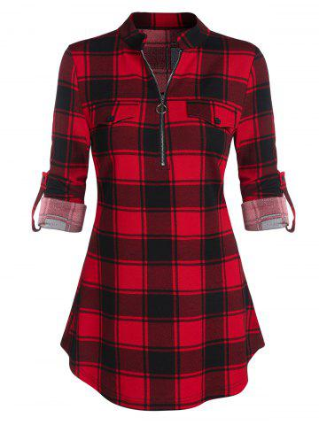 Plaid Print Half Zip Cuffed Sleeve Blouse