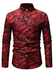 Leaves Print Button Up Slim Fit Shirt -