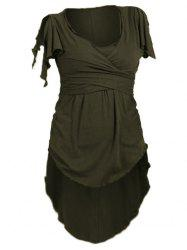 Split Sleeve Wrap Knotted High Low T-shirt -