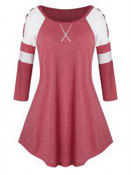 Plus Size Lace Up Two Tone Curved Tunic Tee -