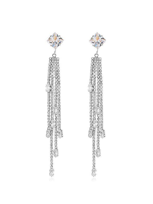 Affordable Full Rhinestone Long Chain Earrings