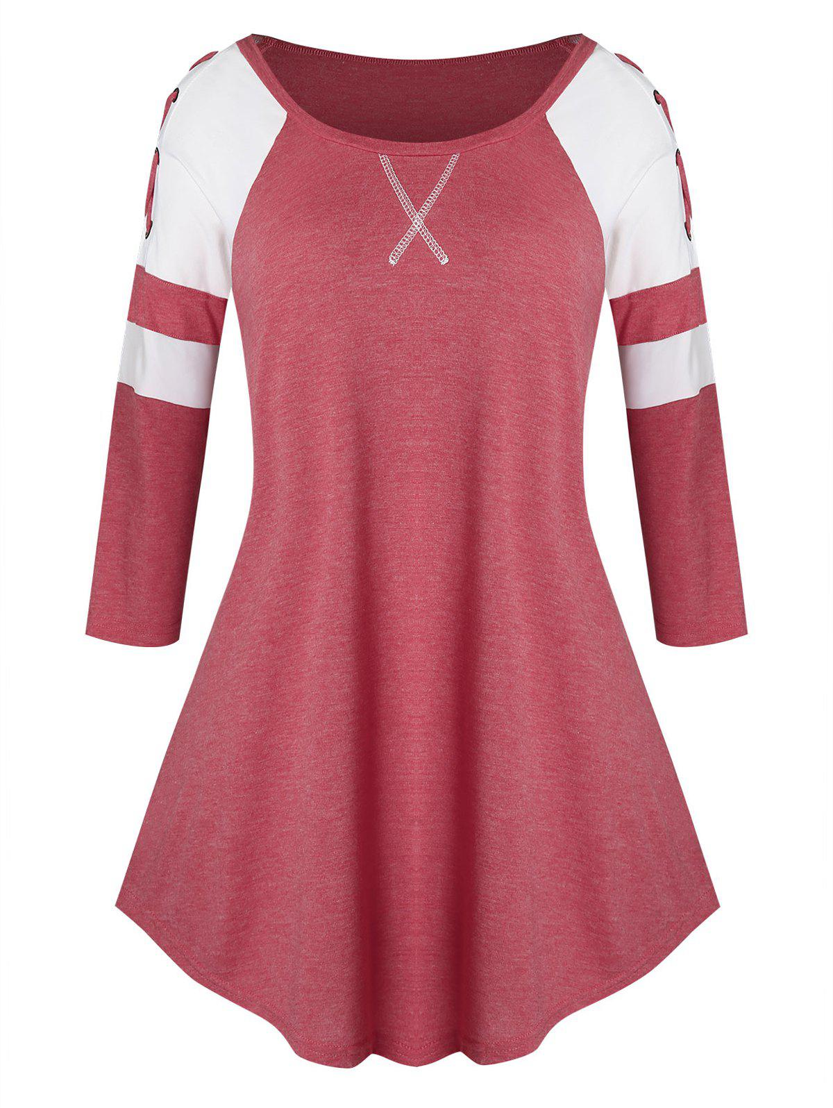 Shop Plus Size Lace Up Two Tone Curved Tunic Tee