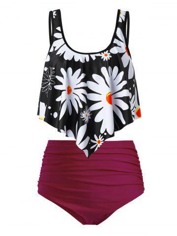 Plus Size Flower Print Flounce Ruched High Waisted Tankini Swimsuit