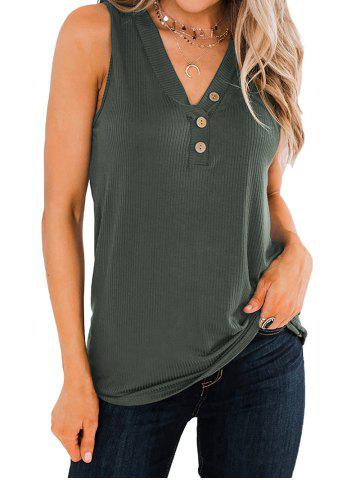 Ribbed Mock Button V Neck Tank Top - ARMY GREEN - L