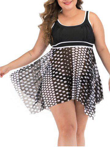 Plus Size Polka Dot Handkerchief Skirted Tankini Swimsuit - BLACK - M