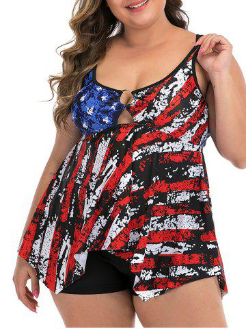 Plus Size Destroyed American Flag Ring Tankini Swimsuit