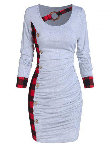 Ruched Plaid Tight Dress