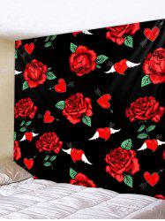 Wing Rose Flower Pattern Wall Hanging Tapestry -