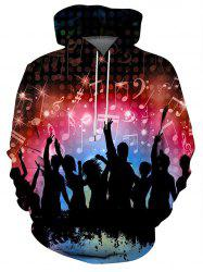 Rocking People Graphic Front Pocket Casual Hoodie -