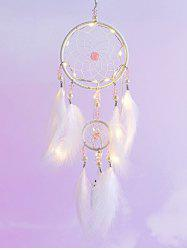 Faux Pearl Beaded LED Light Feather Dream Catcher -