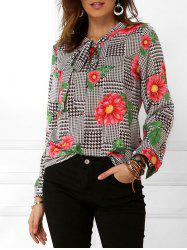 Houndstooth Floral Print Long Sleeves Blouse -