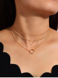 Geo Ring Multilayered Chain Necklace -