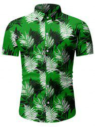 Leaf Print Button Up Short Sleeve Hawaii Shirt -