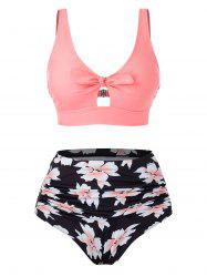 Plus Size Floral Bowknot Printed Tankini Swimsuit -