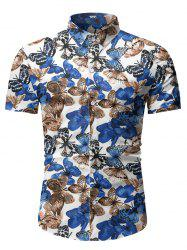 Butterfly Print Button Up Short Sleeve Shirt -